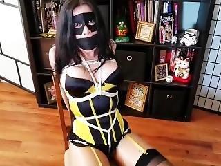 bondage, travestita, modella, travestito, legata