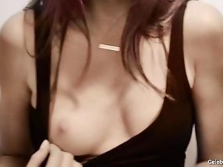 babe, brunette, kendt, sammensætning, lingeri, nøgen, rå, segennem, sexet, små bryster, alene