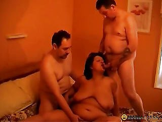 Brunette, Fucking, Obese, Sucking, Threesome