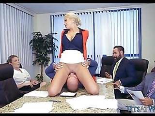 Crazy Blonde Boss In Meeting