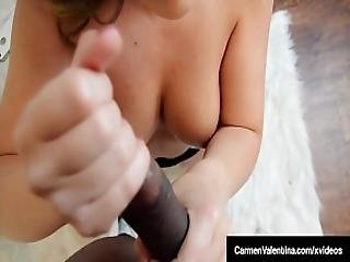 Hot Blonde Carmen Valentina Puts Chocolate Cock In Her Mouth