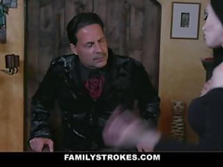 Familystrokes - Spooky Teen Gets Treated To A Family Orgy On Halloween