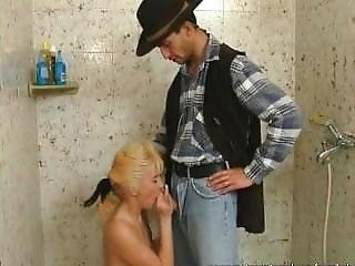 Mature Blonde Gets Fucked In Bathroom