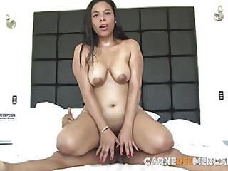 Carne Del Mercado - Busty Latina Teen Takes Huge Penis - Colombian