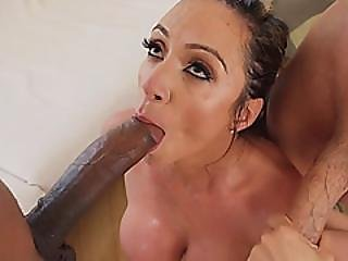 Amazing Big Titted Horny Milf Sucking Black And White Cock