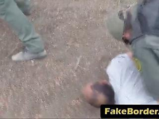 Dark Haired Teen Got Caught At The Border And She Needs To Get Punished She Gets Her Shaved Cunt Roughly Filled By A Border Guard Outdoors