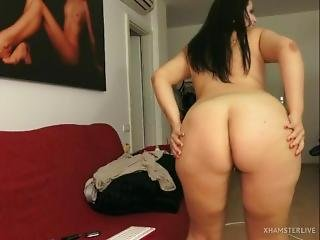 Chubby Leans Forward To Spread Her Asshole And Pussy