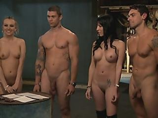 Two Pretty Women Enjoying Foursome Sex In The Jailcell