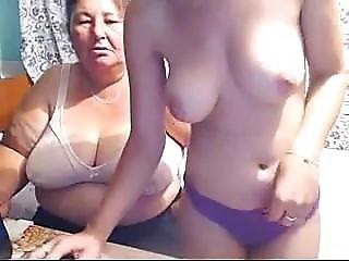 Behind The Scenes Busty Teen & Grandma On Webcam