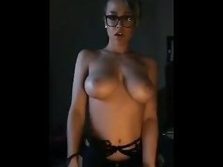 Sexy Blond With Glasses Cums