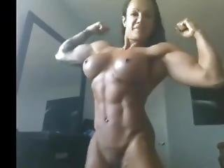 Sexy Muscle Fbb Flexing And Posing On Webcam