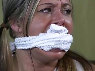 Adara Cheerleader Babysitter Gagged