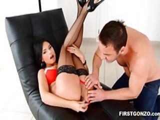 Slut Wears Sexy Fishnets While Being Buttfucked