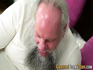 Tiny Teenager Sucks Off And Rides Gramps For Jizz In Mouth