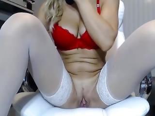 amatør, stort bryst, blond, BH, sammensætning, sindsyg, onani, orgasme, alene, lejetøj, webcam
