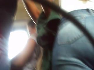 amateur, arsch, bus, buttcam, versteckte kamera, jeans, öffentlich