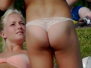 Sexy Teens Tanning In The Park