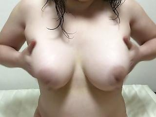 Bouncing And Squeezing Her Big Asian Saggy Tits