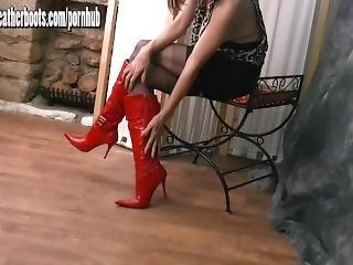 любитель, ботинки, брюнетка, кожа, мамаша, нейлон, сексуальный, шлюха, чулок, дразнение