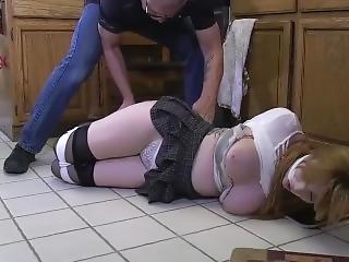bondage, gulv, køkken, bundet