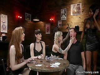Shemale Gang Bikers Natassia Dreams And Natalie Mars And Lena Kelly And Shiri Allwood Making Dude In Bar Rimming Them Then Anal Fucking Him