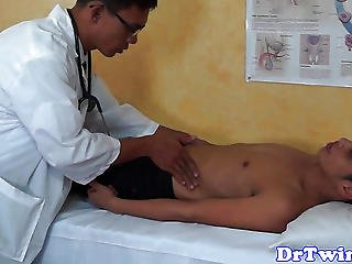 Young Asian Doctor Anally Fingering Twink