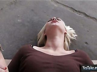 Czech Slut Linda Ray Nailed In Public Place For Money