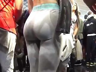 Brunette Big Ass Latina Teen Caught On Hidden Cam In Tight Leggings & Thong