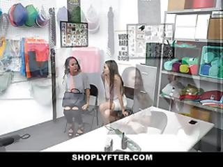 Shoplyfter - Sexy Slim Teen And Busty Stepmom Have To Fuck Their Way Out Of Trouble