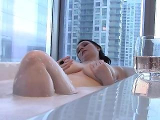Sexy Big Tit Brunette Wife Takes A Bath & Mouthfucks Cock
