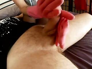 Gloved Handjob With Pink Latex Gloves