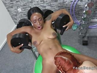 Fit Ebony And Redhead Lesbians Licking