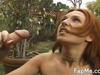 Lovely Chick Giving A Blowjob Outdoors