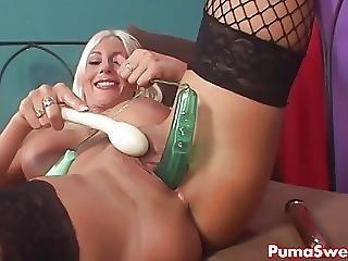 European Pornstar Puma Swede Masturbates With All Her Toys