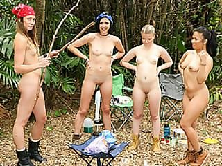 Slutty Babes Goes Camping And Enjoys An Intense Groupsex