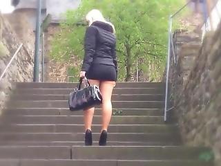 Hot & Sexy Blonde Milf In Tight Too Short Miniskirt Upskirt Stairs Climbing