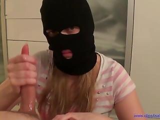 Balaclava Handjob From Burglar
