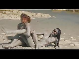 Sandy Mud Wrestling