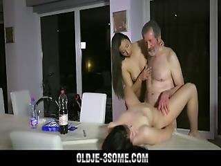 Hot Teens Fucked In Sensual Old Young Threesome With Cum Swap Blowjob