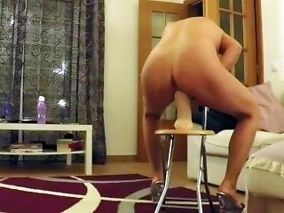 Riding Very Long Huge Dildo Deep Into Pussy