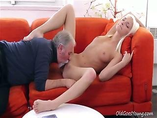 Blonde, Blowjob, Czech, Doggystyle, Hardcore, Old, Older Man, Sex, Shaved, Surprised, Tattoo, Teen, Young