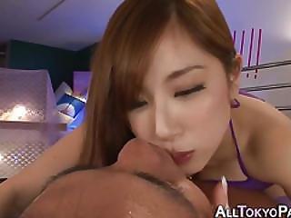 Japanese Babe Tugs Dick