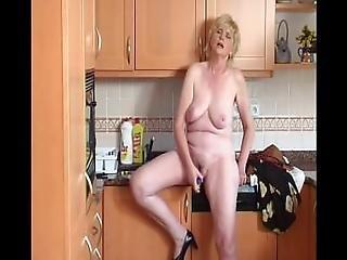 blondine, haarig, hacken, geil, einbringen, küche, onanieren, Reife, orgasmus