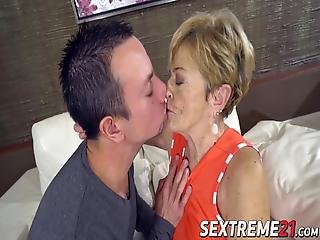 Horny Older Grandma Gives A Slow Blowjob Before Being Fucked Hard By A Younger Cock And Facialized