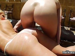 Wicked Lesbos Fill Up Their Massive Bums With Cream And Splash It Out