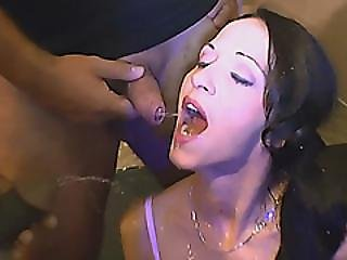 Skinny European Whore Sucks Hard Dicks And Gets Showered With Piss