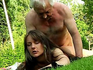 Old Man Gets Her Pecker Sucked Hard By A Brunette Babe