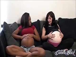 Pregnant Girls Getting Their Bellybutton Licked By Lesbian Friend