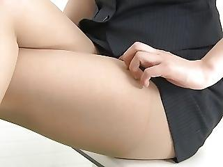 Office Lady In Stockings And Mini Skirt