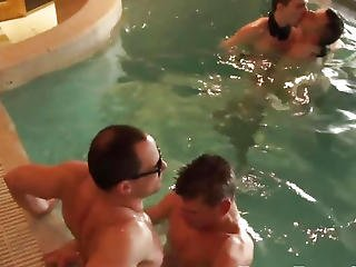 European Party Guys Cocksucking At The Pool